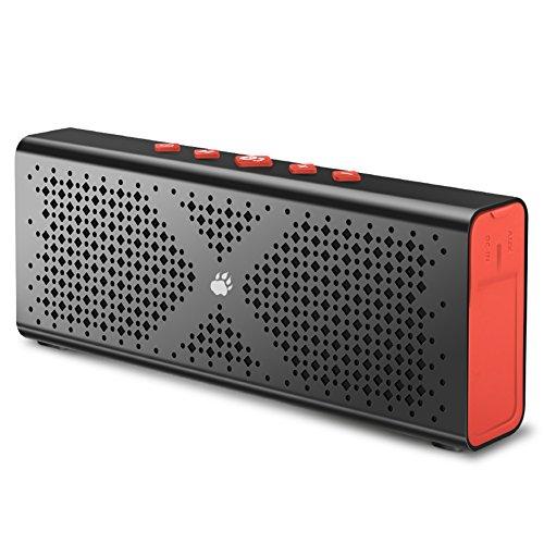 Bluetooth Lautsprecher, BlitzWolf 1800mah Stereo Speaker Wireless mit Aux Port für MP3 Player, PSP Spiel, Freisprechtelefon(Schwarzrot)