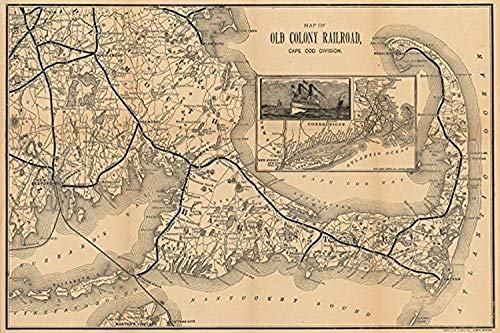 Buyartforless Vintage Old Colony Railroad Map Cape Cod Division 16x24 Giclee Art Print Poster Made in The USA