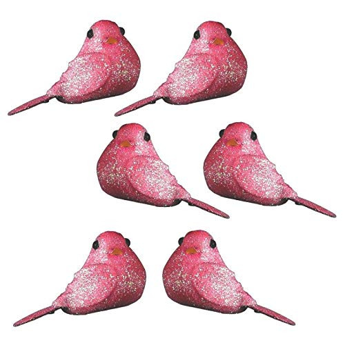 Lot de 8 Mini Oiseaux pailletés Rose, Long. 4cm x larg. 2,5cm, à Poser ou Coller pour Une déco Festive