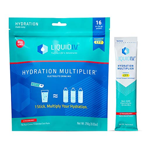 Liquid I.V. Hydration Multiplier - Strawberry - Hydration Powder Packets | Electrolyte Supplement Drink Mix | Low Sugar | Easy Open Single-Serving Stick | Non-GMO (Strawberry/16 Count) …
