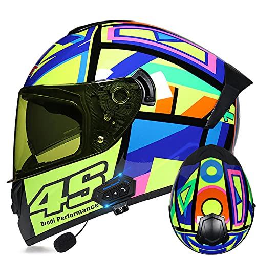 Cascos de motocicleta Bluetooth Casco de cara completa modular abatible frontal visor dual Hombres adultos Mujeres Sistema de comunicación integrado Certificación ECE,C,M 57~58cm