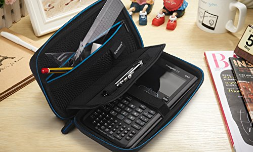 Supremery for Texas Instruments TI-Nspire CX/CAS Graphing Calculator Case Cover EVA Shockproof Travel Storage - Black/Blue Photo #7
