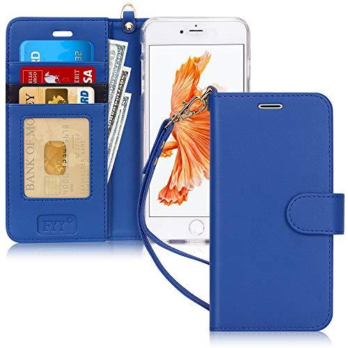 FYY Cover iPhone 6S Plus,Cover iPhone 6 Plus,Flip Custodia Portafoglio Caso Libro Pelle PU con Funzione Supporto e Porta Carte per iPhone 6 Plus/6S Plus-Blu