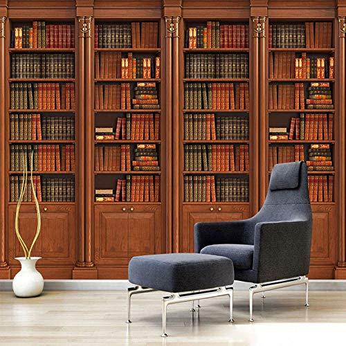 Fotobehang fotobehang 3D stereo boekenkast boekenkast wandschilderijen woonkamer tv sofa studie huis decor achtergrond behang voor muren 300cm (W) x 210cm (H)