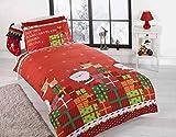 Christmas Presents Kids Xmas Santa Claus Quilt Duvet Cover and Pillowcase Bedding Bed Set, Multi-Colour, Single