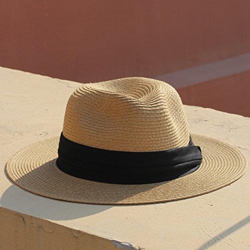 WSQ Verano abatible Blanco y Negro Plana 檐 Amplia Hombres y Mujeres Sombrero de Paja Padre-niño Sombrero de Panamá Visera Sombrero Sombrero de Playa