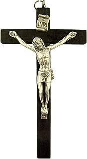 Dark Oak Wood Nuns Pectoral INRI Cross Crucifix for Rosary, 4 Inch
