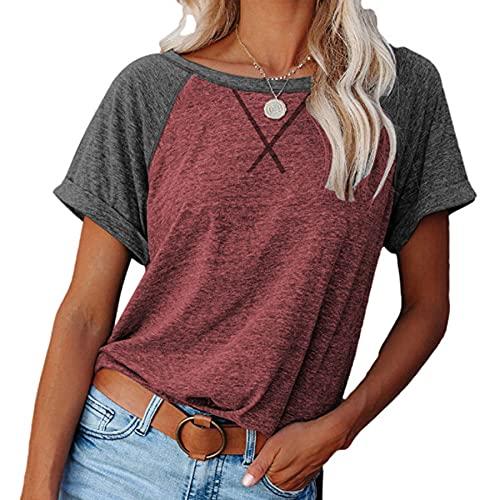 WXDSNH Camiseta para Mujer Color a Juego Cruzado Manga Corta Suelta Casual Top Verano Mujer Ocio