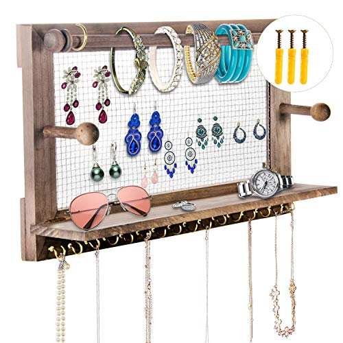 POZEAN Jewelry Organizer, Rustic Jewelry Organizer Wall Mounted, Wooden Jewelry Holder with 16 Hooks for Holding Earrings, Necklaces, Bracelets and Other Accessories (Included 2 Screws and Anchors)