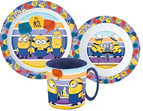 Little Flight Minions - Juego de comida escolar de plástico reutilizable para Micronde Minions (1 plato, 1 taza con mango, 1 cuenco)