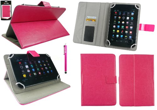 Emartbuy® Hot Rosa Eingabestift + Universalbereich Hot Rosa Multi Winkel Folio Executive Hülle Cover Wallet Hülle Schutzhülle mit Kartensteckplätze Geeignet für Odys Junior Tab 8 Pro 8