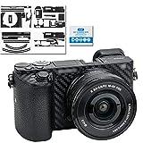 Adhesivo protector para cámara Sony Alpha a6500 + kit de lentes de 16 a 50 mm – 3M pegatinas para cámara réflex digital de fibra de carbono protector de cubierta de cuerpo sin burbujas