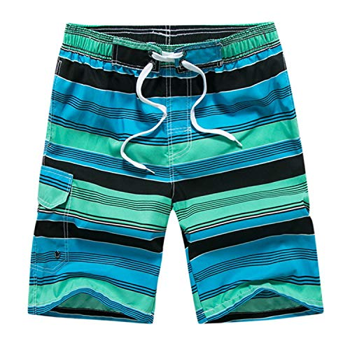 Men Swimwear Briefs Casual Stripe Print Beach Pocket Surfing Swim Loose Short Pants,Green,M