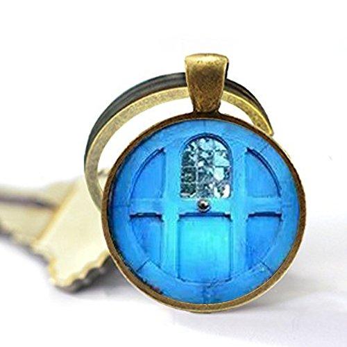 Qws Schlüsselanhänger, Motiv: Der Hobbit-Tür, Osterschmuck, Foto-Schmuck, Glas-Schlüsselanhänger, Geschenk, Kaninchen, Hase
