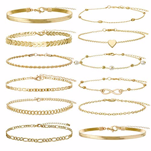 Sincahfy Ankle Bracelets for Women Gold Chain Anklet Adjustable Arrow Infinity Heart Anklet Snake Chain Summer Barefoot Sandals Beach Foot Jewelry Leg Chain 12 PCS