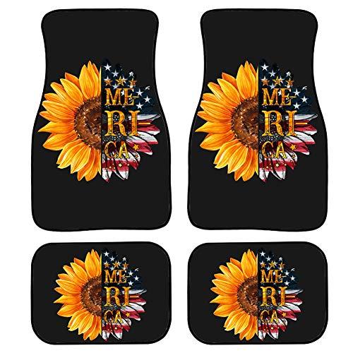 Upetstory Car Floor Protector Garage Mat Sunflower American Theme Interior Rugs Best 4 Piece Heavy Duty Car Heel Mat Black