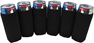 TahoeBay 6 Slim Can Sleeves - Blank Neoprene Beer Coolers – Compatible with 12oz RedBull, Michelob Ultra, Spiked Seltzer (Black, 6)