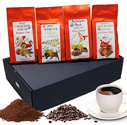 """Weihnachtliches Geschenk Set aromatisierter Kaffee """" Weihnachtskaffee """" 4 x 200 g Aromakaffee ganze Bohne Kaffee-Geschenkset"""