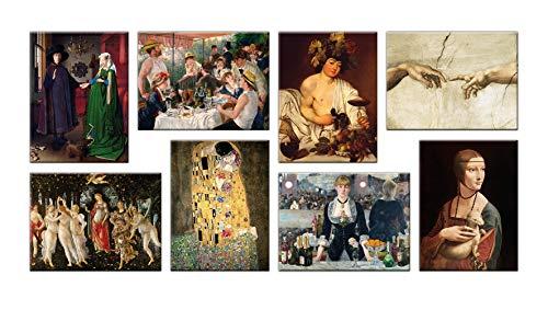 LuxHomeDecor Cuadros famosos 8 piezas 40 x 30 cm Impresión sobre lienzo con marco de madera Jan Van Eyck Renoir Caravaggio Michelangelo Botticelli Klimt Manet Leonardo da Vinci