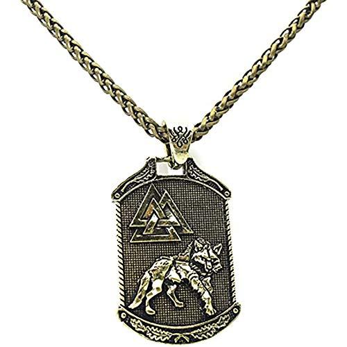 LH&BD Odin Lobo Collar Árbol de la Vida Norse Viking Head Collant con 22.8'Cadena Vintage Celtic Totem Amuleto Punk Jewelry,Oro