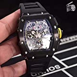 SDFASD Luxury Black Red Rubber Men Watch Sapphire Automatic Mechanical Tourbillion Calendar Glass Back Sport Yellow