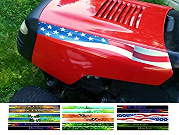 East Coast Vinyl Werkz Hotrod Hood Stripe Flames Lawn Mower Tractor Decals Stickers - 2pc Mirrored Set - Funny Decals for John Deere Murray Poulan Craftsman Husqvarna Lawn mowers  American Flag