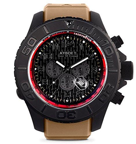 KYBOE! Reloj de Cuarzo de Acero Inoxidable y Silicona (Modelo: Desert Tan Stealth Chrono)