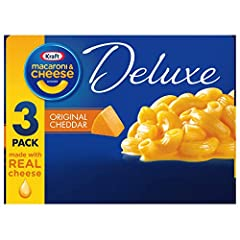Three 14 ounce boxes of Kraft Deluxe Original Cheddar Macaroni and Cheese Dinner Kraft Deluxe Original Cheddar Macaroni and Cheese Dinner is a quick and easy meal Box includes elbow macaroni noodles and original cheddar cheese sauce made with real ch...