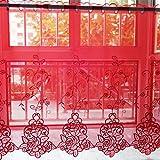 Cortinas de media ventana, cortinas cortas para baño, dormitorio, cafetería, fregadero, moda para el hogar, bolsillo con barra, 1 pieza (Color : Red, Tamaño : Width:250*Height:120CM)