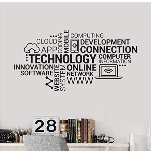 Technologie Lettres Vinyle Sticker Entreprise Internet Innovation Mots Nuage Bureau Stickers Muraux Moderne Décoration De La Maison 42X82 Cm