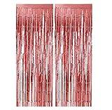 SIMUER Cortina Brillantes 2PCS Oro Rosa Metálica Tinsel Cortinas Shimmer Brillante Borla Lámina Flecos Foto Pared de Fondo,Shinny Decoraciones para Fiestas para Bodas de Cumpleaños Navidad