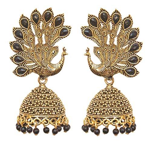 Pahal - Pendientes de oro oxidados tradicionales con perlas negras grandes de Jhumka, pavo real, indio, Bollywood, para fiestas, joyería para mujer