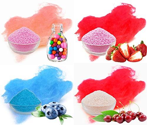 4x100g Aromazucker mit Geschmack. Bubble - Gum, Erdbeer, Heidelbeere, Kirsche bunter farbiger Zucker für Zuckerwatte, Popcorn und zum Dekorieren. Premium Zucker Set für die Zuckerwatte Maschine