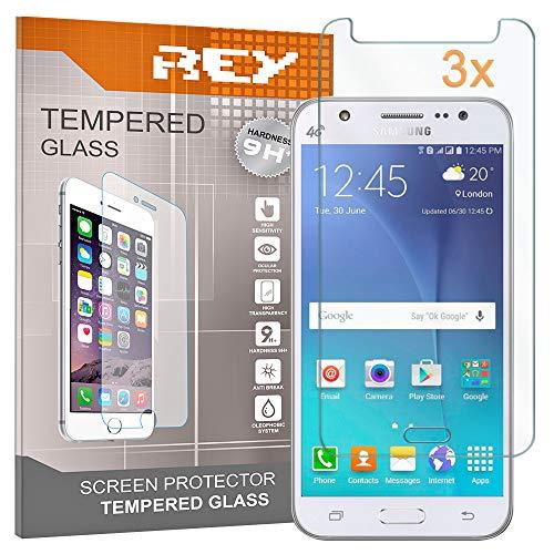 REY 3X Protector de Pantalla para Samsung Galaxy J5 (2016), Cristal Vidrio Templado Premium