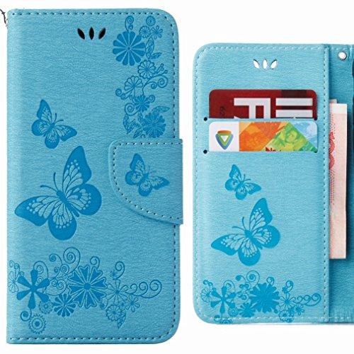 Ougger Cover per Huawei Y6 (2018) Custodia Portafoglio PU Pelle Magnetico Morbido Silicone Flip Cover Protettivo Custodia Huawei Y6 (2018) con Slot per Schede, Striscia Farfalla (Blu)