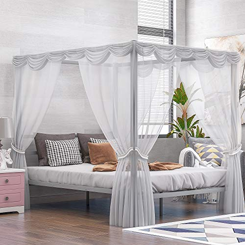 Queen Metal Framed Canopy Platform Bed with Built-in Headboard and 4 Corners Post Curtained Bed Frame, No Box Spring Needed, Classic Design (Sliver)