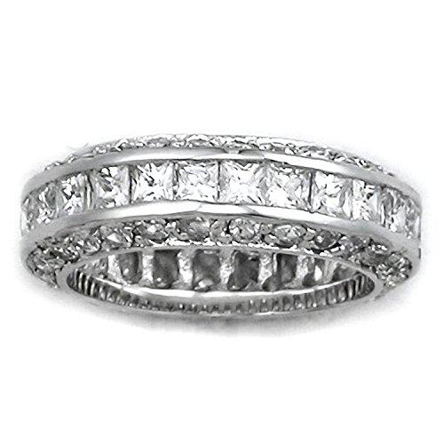 Eternity Sterling Silver Ring - Full Diamond CZ Eternity Style Ring - Full Eternity White Gold Look - Size S
