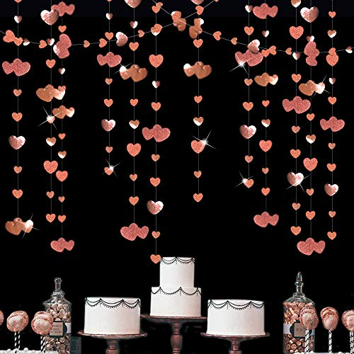 52 Ft Rose Gold Double Heart Hanging Garland Double Sided Glitter Metallic Paper Banner for Bachelorette Engagement Wedding Bridal Shower Birthday Anniversary Christmas Party Decorations (4 Packs)