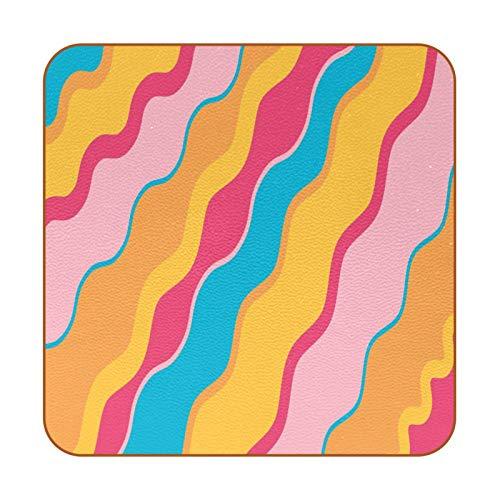 Posavasos de cerámica de vidrio absorbente de piedra posavasos adecuados para todo tipo de tazas, paleta de colores de pastel pintura arco iris
