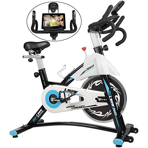 L NOW Indoor Exercise Bike Indoor Cycling Stationary Bike, Belt Drive with Heart Rate, Adjustable Seat and Handlebar, Tablet Holder, Stable Quiet and Smooth for Home Cardio Workout(D600) (D600)