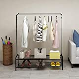 <span class='highlight'><span class='highlight'>BOFENG</span></span> Clothes rack commercial grade heavy duty,clothes stand rack with Top rod and 2-tier shelves for shoes and box in bedroom entrance black