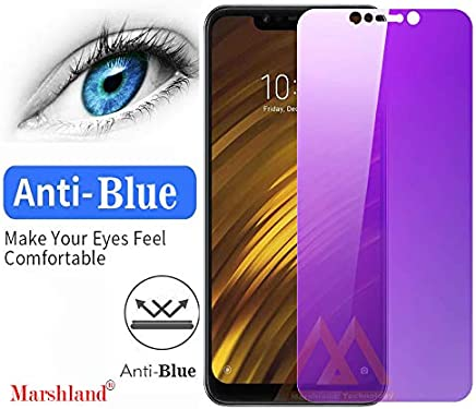 Marshland Tempered Glass Anti-Scratch Anti-Bubble Screen Protector Case Friendly Tempered Glass Compatible for Xiaomi Poco F1 / Poco F1 (Anti-Blue)