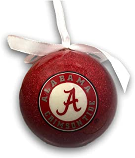 University of Alabama Big Al Crimson Tide Collegiate Hanging Christmas Ball Ornament with Glittered Detail and White Bow