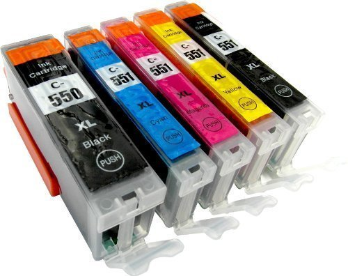 5 Tintenpatronen kompatibel zu CLI-551 PGI-551 mit chip: je 1 x PGI-550PGBK XL, CLI-551BK XL, CLI-551C XL, CLI-551M XL, CLI-551Y XL für Canon Pixma IP7250 MG5450 MG6350
