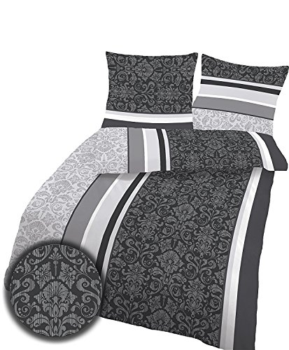 Soma Biber Bettwäsche 4 teilig Bettbezug 155 x 220 cm Kopfkissenbezug 80 x 80 cm anthrazit Barock Blume