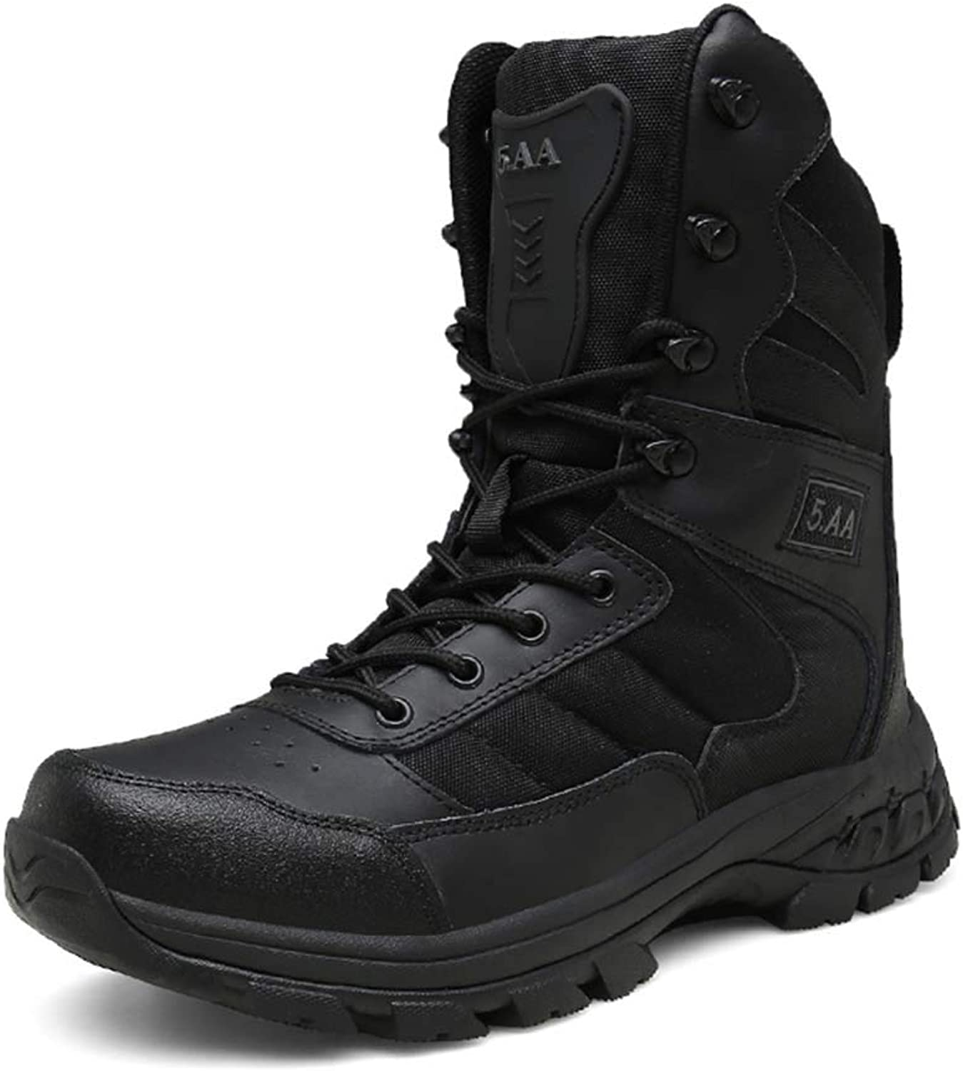 Men's Leather Tactical Boots Lightweight Breathable Waterproof Military Boots Hiking Work Boots