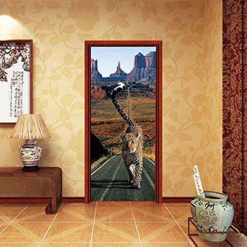 Sticker Muralleopard deur behang panter muursticker lopen op straat tijger wandtattoo slaapkamer poster waterdicht wooncultuur 77 * 200 cm