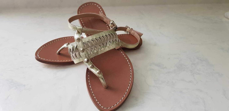 Belle by Sigerson Morrison Women's Platino Rollie Beige Flat Sandals Size US 6 B