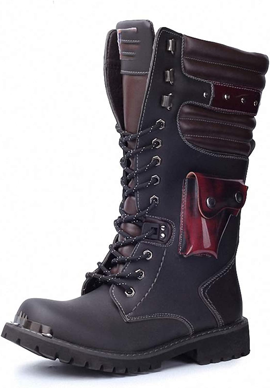 Mens Backpacking Boots Army Boots Men Bag Military Mens Boots Skull Metal Buckle Lace up Male Motorcycle Punk Boots Men's shoes Rock