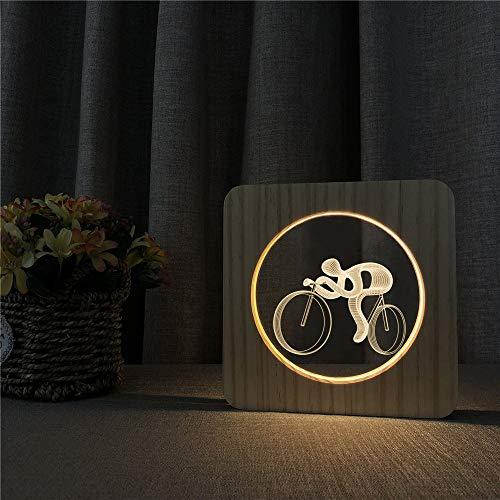 Bicicleta Ciclismo Acrílico Luces nocturnas Mesa Interruptor de luz Control Grabado Luces...